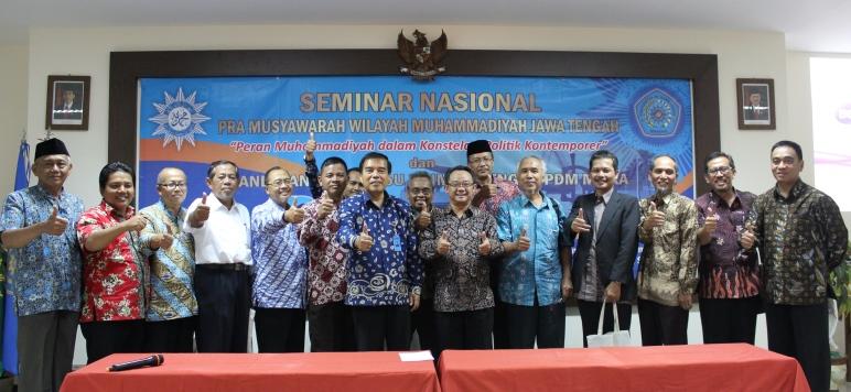 Rektor Unimus berfoto bersama Sekretaris Umum PP Muhammadiyah dan Pimpinan PDM mitra
