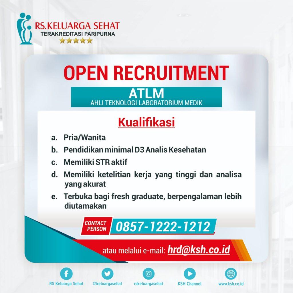 OPEN RECRUITMENT ATLM (Ahli Teknologi Laboratorium Medic) Unimus